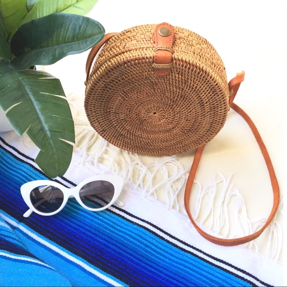 Urban Outfitters Bags Round Woven Rattan Basket Bag Bali Ata Straw